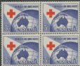 AUS SG276 3½d Ultramarine and Scarlet 40th Anniversary of Red Cross block of 4